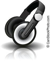 vector, illustratie, headphones