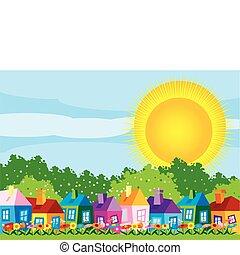 vector, illustratie, kleur, huisen