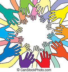 vector, illustratie, kleurrijke, handen