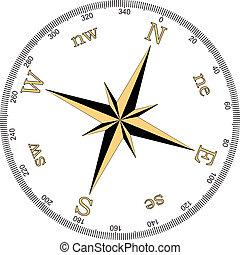 vector, illustratie, kompas