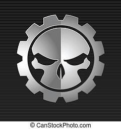 vector, illustratie, kwaad, schedel