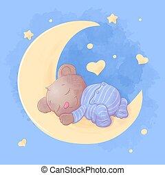 vector, illustratie, maan, slaap, spotprent, pajamas., schattig, beer