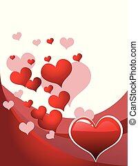 vector, illustratie, met, rood, liefde harten