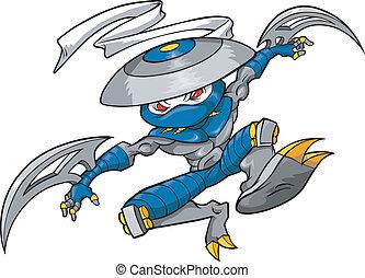 vector, illustratie, ninja, strijder