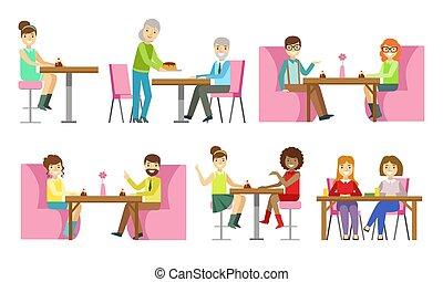 vector, illustratie, of, bakkerij, tafels, toetjes, mensen, winkel, zittende , eten, klesten, banketbakkerij