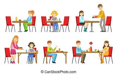 vector, illustratie, of, bakkerij, toetjes, set, mensen, winkel, zittende , eten, tafels, banketbakkerij