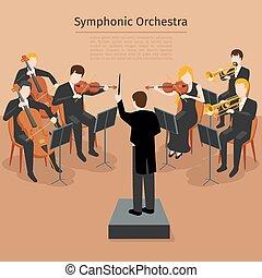 vector, illustratie, orkest, symfonisch