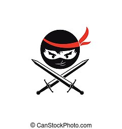 vector, illustratie, pictogram, ninja, ontwerp