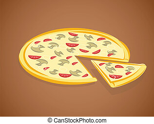 vector, illustratie, pizza