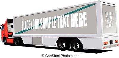 vector, illustratie, rode vrachtwagen