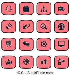 vector, illustratie, set, van, eenvoudig, cursus, icons., communie, doel, koptelefoon, gesprek, en, anderen, synonyms, structuur, vergrootglas, en, boven.