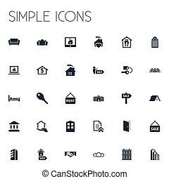vector, illustratie, set, van, eenvoudig, eigendom, icons., communie, reclame, glas, toren, comfort, en, anderen, synonyms, slot, monitor, en, broker.