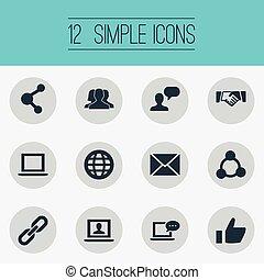 vector, illustratie, set, van, eenvoudig, internet, icons., communie, aantekenboekje, praatje, nieuwe post, en, anderen, synonyms, globaal, aantekenboekje, en, inbox.