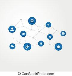 vector, illustratie, set, van, eenvoudig, media, icons., communie, ketting, groep, uitgeven, en, anderen, synonyms, kletsende, verwant, en, messaging.