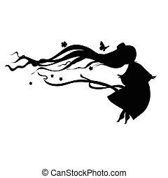 vector, illustratie, silhouette, van, een, klein meisje, met, langharige, en, mooi, jurkje