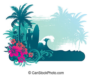 vector, illustratie, -, surfer, silhouette, op, atropical, landscape