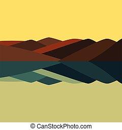 vector, illustratie, van, berg landschap, in, tijdstip van dag