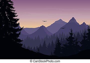 vector, illustratie, van, berg landschap, met, bos, en, vliegende vogels, onder, bewolkte hemel