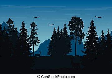 vector, illustratie, van, berg landschap, met, bos, hertje, en, vogels, onder, blauwe hemel