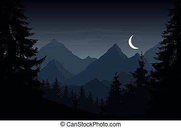 vector, illustratie, van, berg landschap, met, bos, onder, bewolkt, avond lucht, met, maan