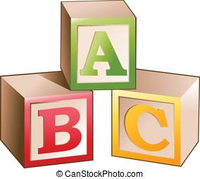 vector, illustratie, van, blokjes, met