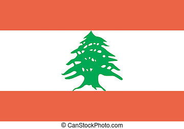 vector, illustratie, van, de, vlag, van, libanon