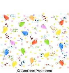 vector, illustratie, van, een, jarig, achtergrond, met, ballons, linten, en, confetti.