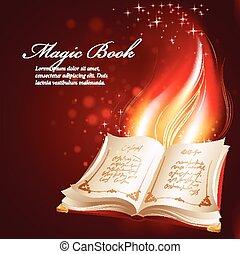 vector, illustratie, van, een, magisch, boek