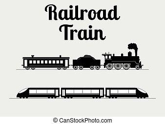 vector, illustratie, van, een, trein