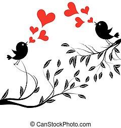 vector, illustratie, van, een, vogels, op, boompje