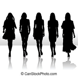 vector, illustratie, van, enkel, vrijstaand, meiden, set, silhouette, pictogram