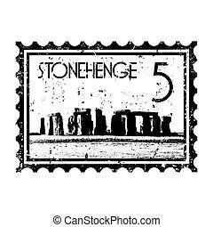 vector, illustratie, van, enkel, vrijstaand, stonehenge,...