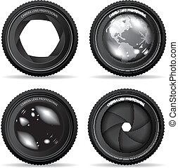vector, illustratie, van, fototoestel lens