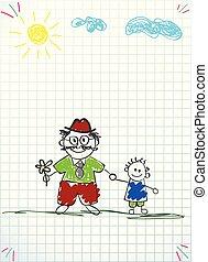 vector, illustratie, van, granddad, en, kleinzoon, samen, holdingshanden