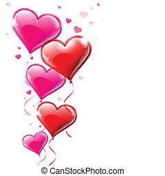 vector, illustratie, van, hart formeerde, ballons, vloeiend, in, de, lucht