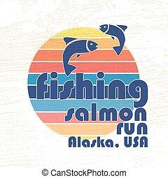 """vector, illustratie, van, kleurrijke, plat, ontwerp, stijl, handtekening, """"fishing, salmon, uitvoeren, alaska, usa"""", met, salmon, silhouettes, op, textured, achtergrond, als, een, mal, voor, jouw, ontwerp, artikel, of, afdrukken"""