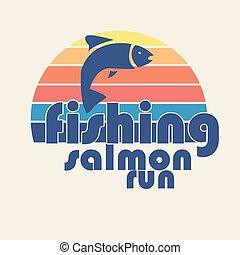 """vector, illustratie, van, kleurrijke, plat, ontwerp, stijl, handtekening, """"fishing, salmon, run"""", als, een, mal, voor, jouw, ontwerp, artikel, of, afdrukken"""