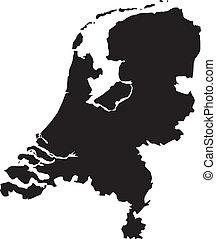vector, illustratie, van, landkaarten, van, nederland