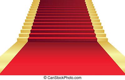 vector, illustratie, van, rood tapijt