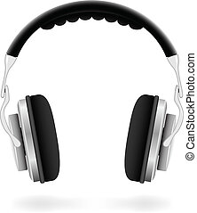 vector, illustratie, van, studio, headphones