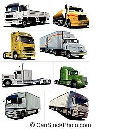 vector, illustratie, van, witte , vrachtwagen