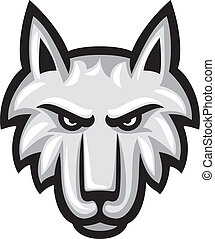 vector, illustratie, van, wolf, gezicht