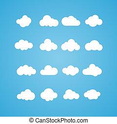 vector, illustratie, van, wolken, collection., concept, -, gegevensverwerking, web, en, app, weer