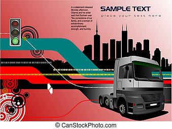vector, illustratie, vrachtwagen