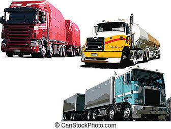 vector, illustratie, vrachtwagens