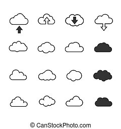 vector, illustratie, wolken, verzameling, set., concept, -, gegevensverwerking, web, en, app, weer