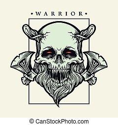 vector, illustraties, strijder, viking, bijl, schedel