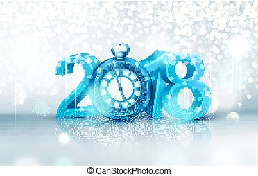 Vector illustration. 3d blue digits 2018, with an old clock instead of zero on a bright, luminous background . Holiday background for the new year. Element for the design of a greeting card for  New Year