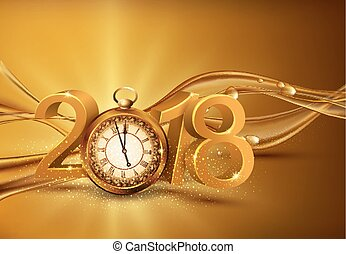 Vector illustration. 3d gold digits 2018, with an old clock instead of zero on a background of abstract golden waves with bubblesFestive background for the new year. Element for the design of a greeting card for  New Year