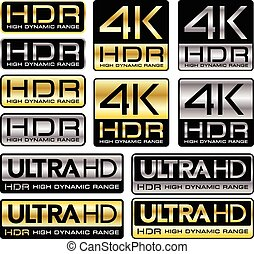 4K and Ultra HD logos with HDR - Vector illustration 4K and...